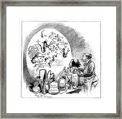 Microbiology Caricature, 19th Century Framed Print by