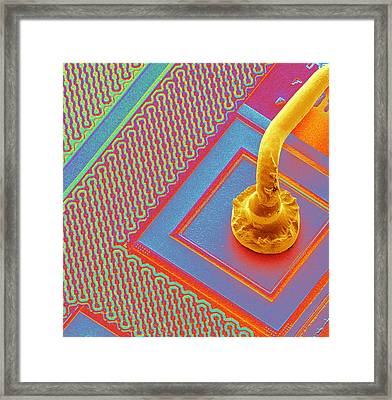 Microchip Connecting Wire, Sem Framed Print by Power And Syred