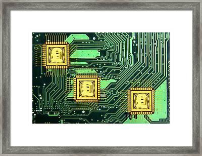 Microchip Sales, Conceptual Image Framed Print by Victor De Schwanberg