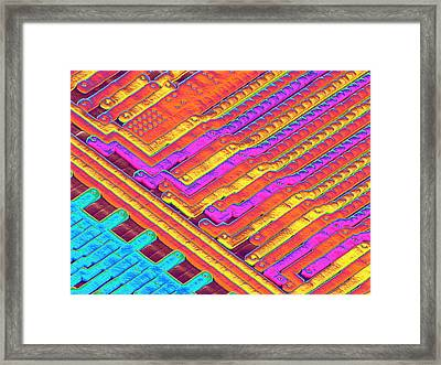 Microchip Surface, Sem Framed Print by Power And Syred