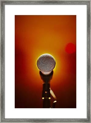 Microphone At A Concert Framed Print by Henrik Sorensen