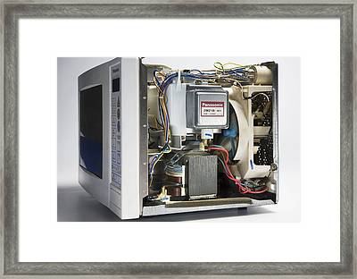 Microwave Oven With The Casing Removed Framed Print by Sheila Terry