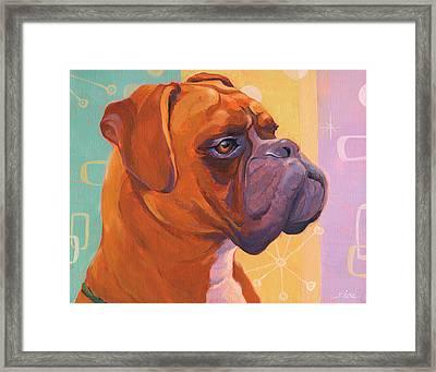 Mid Century Modern Boxer Dog Framed Print