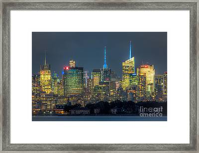Mid-town Manhattan Twilight I Framed Print by Clarence Holmes