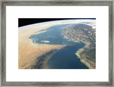 Middle East, Persian Gulf Region, Strait Of Hormuz, Satellite View Framed Print