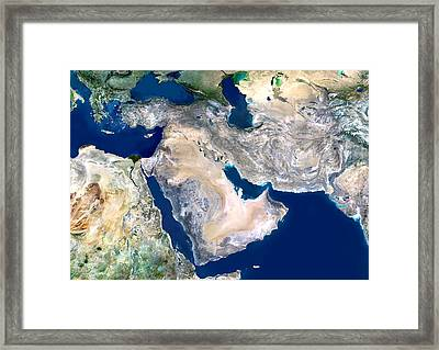 Middle East, Satellite Image Framed Print by Planetobserver