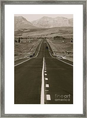 Middle Of The Road Framed Print by David  Hubbs