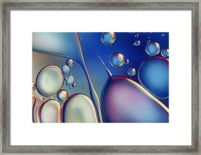 Midnight Blue Bubble Abstract Framed Print by Sharon Johnstone