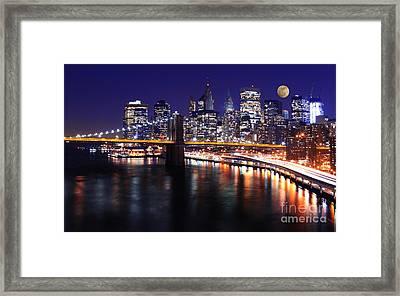 Midnight In The Shadow Of Brooklyn Bridge - Brooklyn Bridge Framed Print by Lee Dos Santos