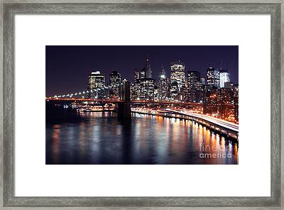 Midnight In The Shadow Of Brooklyn Bridge II- Brooklyn Bridge Framed Print by Lee Dos Santos