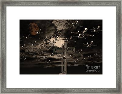 Midnight Raid Under The Golden Moonlight Framed Print by Wingsdomain Art and Photography