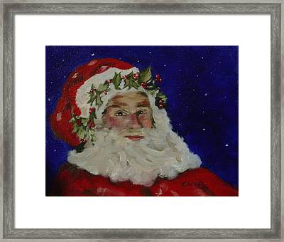 Framed Print featuring the painting Midnight Santa by Carol Berning