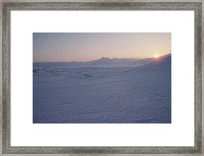 Midnight Sun Hovers Above Polar Framed Print by Gordon Wiltsie
