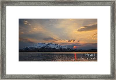 Midnight Sun Over Tjeldsundet Strait Framed Print by Arild Heitmann