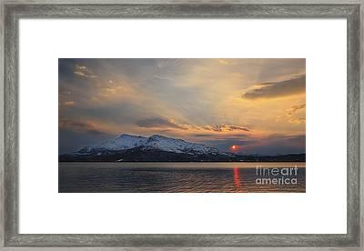 Midnight Sun Over Tjeldsundet Strait Framed Print