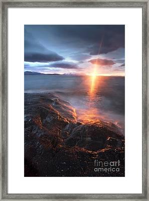 Midnight Sun Over Vågsfjorden Framed Print by Arild Heitmann