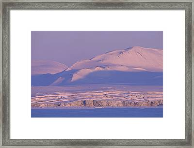 Midnight Sunlight On Polar Mountains Framed Print by Gordon Wiltsie