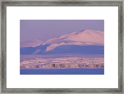 Midnight Sunlight On Polar Mountains Framed Print
