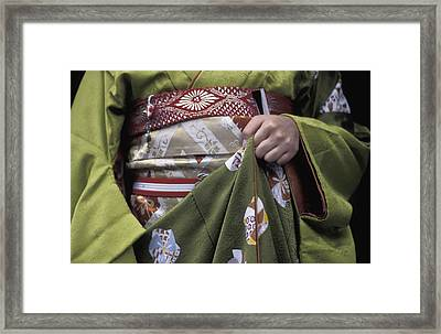 Midsection Of Apprentice Geisha - Maiko Framed Print by Axiom Photographic