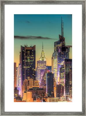 Midtown Buildings Morning Twilight Framed Print by Clarence Holmes