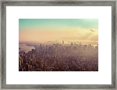 Midtown Manhattan At Dusk Framed Print