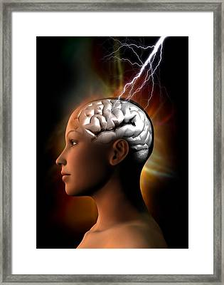 Migraine, Conceptual Artwork Framed Print by Victor Habbick Visions
