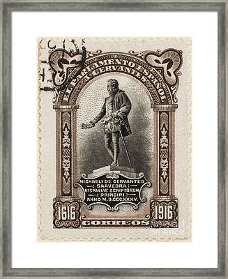 Miguel De Cervantes (1547-1616). Spanish Novelist. A Semi-postal Stamp Issue Of 1916 Commemorating The 300th Anniversary Of The Death Of Miguel De Cervantes Framed Print by Granger