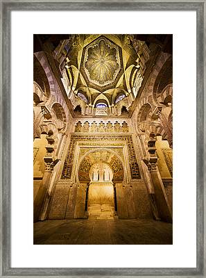 Mihrab And Ceiling Of Mezquita In Cordoba Framed Print