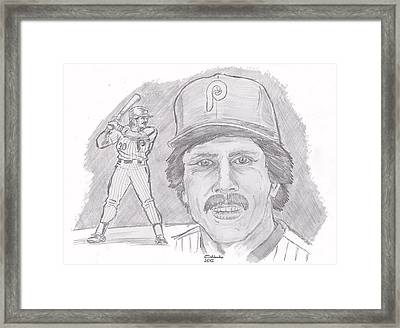 Framed Print featuring the drawing Mike Schmidt by Chris  DelVecchio