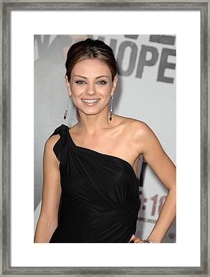 Mila Kunis Wearing Neil Lane Earrings Framed Print
