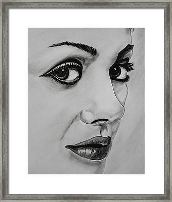 Framed Print featuring the drawing Mila by Michael Cross
