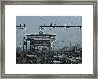 Framed Print featuring the photograph Milan Central Station Italy In The Fog by Andy Prendy
