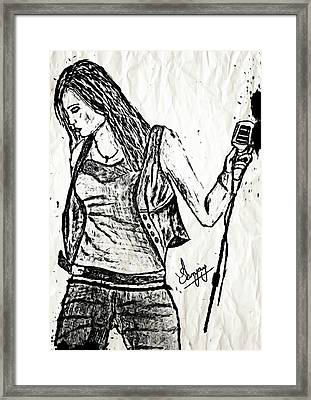 Miley Cyrus Says Let The Music Begin Framed Print by Sanjay Avasarala
