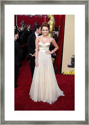 Miley Cyrus Wearing A Jenny Packham Framed Print