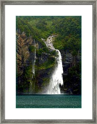 Milford Sound Waterfall Framed Print by Carla Parris