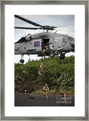 Military Reserve Navy Seals Demonstrate Framed Print by Michael Wood