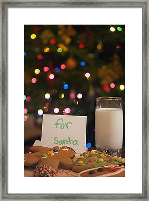Milk And Cookies For Santa Framed Print by Carson Ganci