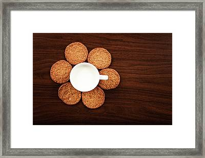 Milk And Cookies On Table Framed Print by Elias Kordelakos Photography