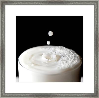 Milk Drops Falling In Glass Of Milk Framed Print by Peter Chadwick LRPS