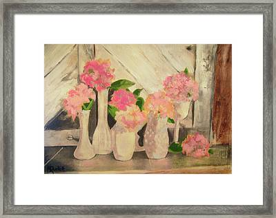 Milk Glass Vases With Flowers Framed Print by Kemberly Duckett