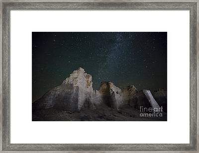 Milky Way Over The Chalk Pyramids Framed Print by Keith Kapple