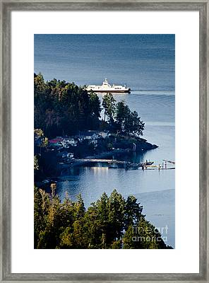 Mill Bay Ferry Passing Sandy Beach Rd Vancouver Island Bc Canada Framed Print