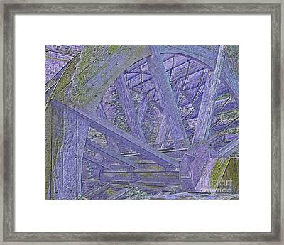 Mill Wheel Vi - Neon Framed Print by Jim Buda
