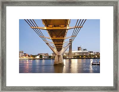 Millennium Bridge And Tate Modern At Twilight Framed Print by John Harper