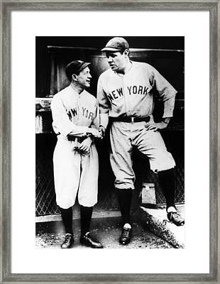 Miller Huggins, And Babe Ruth, Circa Framed Print