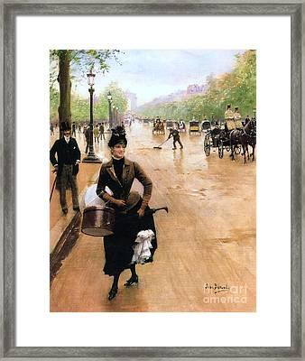 Milliner On The Champs Elys'ees Framed Print by Pg Reproductions