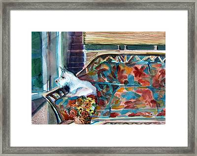 Milly Has A Rainy Day Framed Print by Mindy Newman