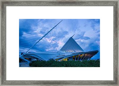 Milwaukee Art Museum At Twilight Framed Print by Vincent Buckley