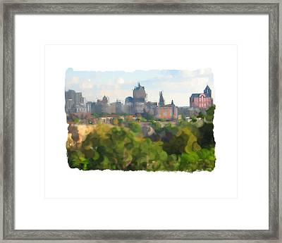 Milwaukee From Resevoir Park Framed Print by Geoff Strehlow