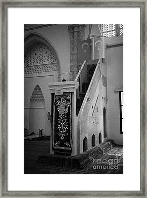 Mimbar Pulpit In Lala Mustafa Pasha Mosque Framed Print by Joe Fox